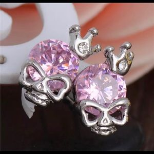Pink Princess Skull Earrings